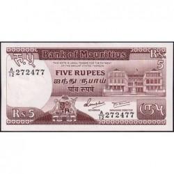 Maurice (île) - Pick 34 - 5 rupees - Série A/12 - 1985 - Etat : NEUF