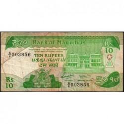Maurice (île) - Pick 35a - 10 rupees - Série A/6 - 1985 - Etat : TB