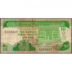 Maurice (île) - Pick 35a - 10 rupees - Série A/9 - 1985 - Etat : TB