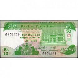 Maurice (île) - Pick 35a - 10 rupees - Série A/11 - 1985 - Etat : SPL
