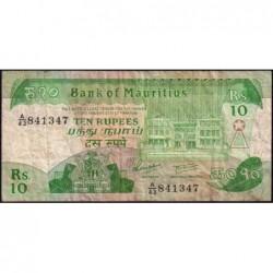 Maurice (île) - Pick 35a - 10 rupees - Série A/43 - 1985 - Etat : TB-