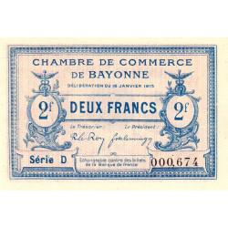 Bayonne - Pirot 21-19a - 2 francs - Série D - 16/01/1915 - Etat : SUP+