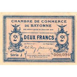 Bayonne - Pirot 21-19b - 2 francs - Série J - 16/01/1915 - Petit numéro - Etat : SUP+