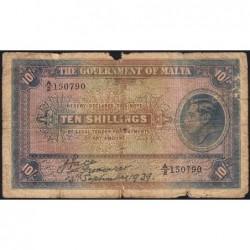 Malte - Pick 13 - 10 shillings - Série A/2 - 13/09/1939 - Etat : AB