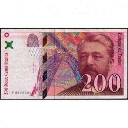 F 75-02 - 1996 - 200 francs - Eiffel - Série P - Etat : TB