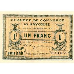 Bayonne - Pirot 21-32 - 1 franc - Série hhh - 22/05/1916 - Etat : SPL+