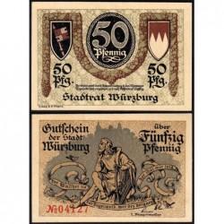 Allemagne - Notgeld - Würzburg - 50 pfennig - 1920 - Etat : SPL+