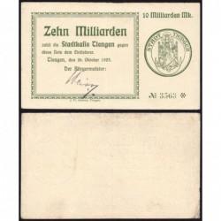 Allemagne - Notgeld - Tiengen - 10 milliards mark - 26/10/1923 - Etat : TTB+