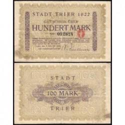 Allemagne - Notgeld - Trier - 100 mark - 02/10/1922 - Etat : TTB-
