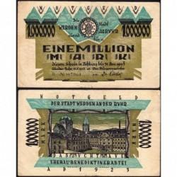 Allemagne - Notgeld - Werden-an-der-Ruhr - 1 million mark - Série H - 15/08/1923 - Etat : TTB-