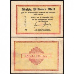 Allemagne - Notgeld - Witten - 5 millions mark - Série F - 10/09/1923 - Etat : TTB-