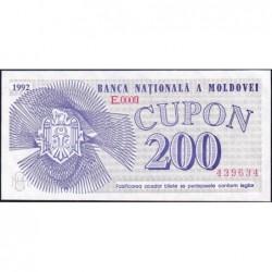 Moldavie - Pick 2 - 200 cupon - Série E.0009 - 1992 - Etat : pr.NEUF
