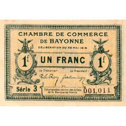 Bayonne - Pirot 21-34 - 1 franc - Série 3 - 22/05/1916 - Etat : SUP