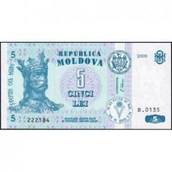 Moldavie - Pick 9f - 5 lei - Série B.0135 - 2009 - Etat : NEUF