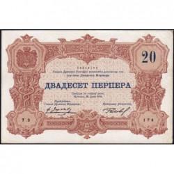 Monténégro - Pick 19 - 20 perpera - Série 2 - 25/07/1914 - Etat : SUP