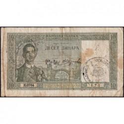 Yougoslavie - Monténégro - Pick R 10 - 10 dinara - 22/09/1939 (1941) - Etat : B