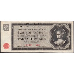 Bohême-Moravie - Pick 5s - 50 korun - 12/09/1940 - Série A23 - Spécimen - Etat : NEUF