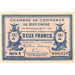 Bayonne - Pirot 21-36 - 2 francs - Série R - 22/05/1916 - Etat : SPL