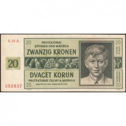 Bohême-Moravie - Pick 9a_1 - 20 korun - 21/01/1944 - Série 01A - Etat : SPL+