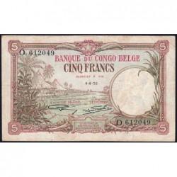 Congo Belge - Pick 8e - 5 francs - Série O - 04/04/1930 - Etat : TTB-