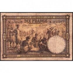 Congo Belge - Pick 9 - 10 francs - Série A - 10/09/1937 - Etat : TB-