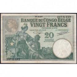 Congo Belge - Pick 10f - 20 francs - Série 247.G - 15/09/1937 - Etat : TTB+