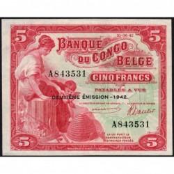 Congo Belge - Pick 13 - 5 francs - Série A - 10/06/1942 - Etat : pr.NEUF