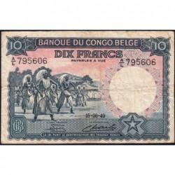 Congo Belge - Pick 14E - 10 francs - Série A/L - 15/08/1949 - Etat : TB-