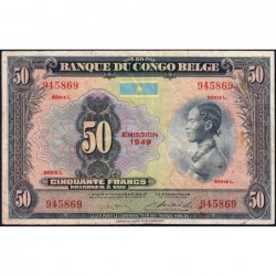 Congo Belge - Pick 16g - 50 francs - Série L - 1949 - Etat : TB