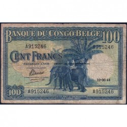 Congo Belge - Pick 17b - 100 francs - Série A - 10/06/1944 - Etat : B+