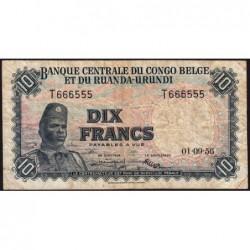 Congo Belge - Pick 30b - 10 francs - Série T - 01/09/1956 - Etat : TB-
