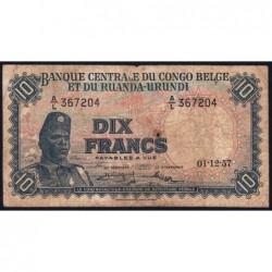 Congo Belge - Pick 30b - 10 francs - Série A/L - 01/12/1957 - Etat : B-