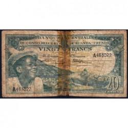 Congo Belge - Pick 31 - 20 francs - Série A - 01/12/1956 - Etat : AB