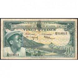 Congo Belge - Pick 31 - 20 francs - Série E - 01/12/1956 - Etat : TB+