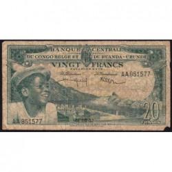 Congo Belge - Pick 31 - 20 francs - Série AA - 01/08/1957 - Etat : B+