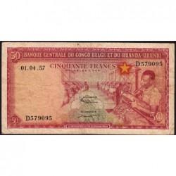 Congo Belge - Pick 32 - 50 francs - Série D - 01/04/1957 - Etat : TB