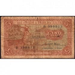 Rwanda et Burundi - Pick 1a - 5 francs - 15/09/1960 - Série B - Etat : B