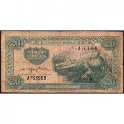 Rwanda et Burundi - Pick 3a - 20 francs - 15/09/1960 - Série A - Etat : TB-