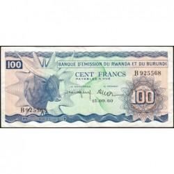 Rwanda et Burundi - Pick 5a - 100 francs - 15/09/1960 - Série B - Etat : TTB à TTB+