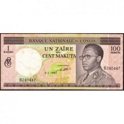 Congo (Kinshasa) - Pick 12a - 1 zaïre ou 100 makuta - Série B - 02/01/1967 - Etat : TB+