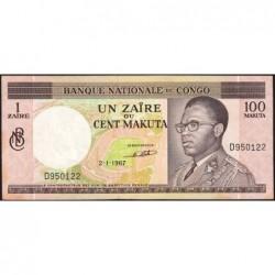Congo (Kinshasa) - Pick 12a - 1 zaïre ou 100 makuta - Série D - 02/01/1967 - Etat : SUP+