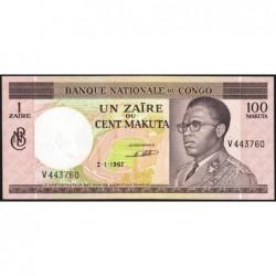 Congo (Kinshasa) - Pick 12a - 1 zaïre ou 100 makuta - Série V - 02/01/1967 - Etat : SPL+
