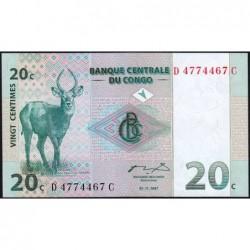 Rép. Démocr. du Congo - Pick 83 - 20 centimes - Série D C- 01/11/1997 - Etat : NEUF