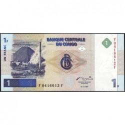 Rép. Démocr. du Congo - Pick 85 - 1 franc - Série F F - 01/11/1997 - Etat : NEUF