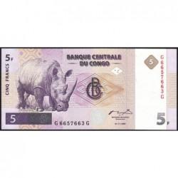 Rép. Démocr. du Congo - Pick 86A - 5 francs - Série G G - 01/11/1997 - Etat : NEUF