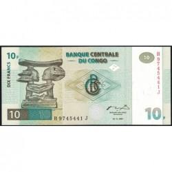 Rép. Démocr. du Congo - Pick 87B - 10 francs - Série H J - 01/11/1997 - Etat : NEUF