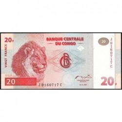 Rép. Démocr. du Congo - Pick 88A - 20 francs - Série J C - 01/11/1997 - Etat : NEUF