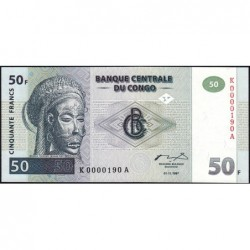 Rép. Démocr. du Congo - Pick 89 - 50 francs - Série K A - 01/11/1997 - Petit numéro - Etat : NEUF