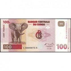 Rép. Démocr. du Congo - Pick 90 - 100 francs - Série L A - 01/11/1997 - Petit numéro - Etat : NEUF