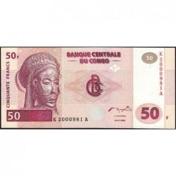 Rép. Démocr. du Congo - Pick 91 - 50 francs - Série K A - 04/01/2000 - Petit numéro - Etat : NEUF